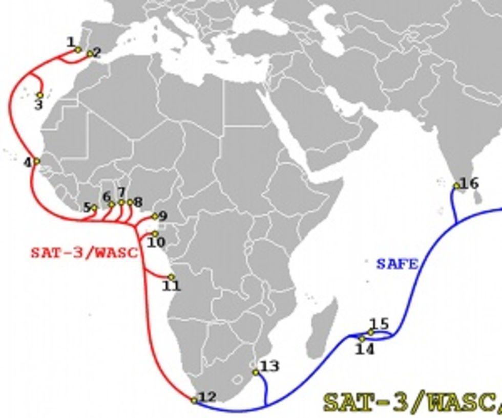 Västafrika blir bortkopplat från internet