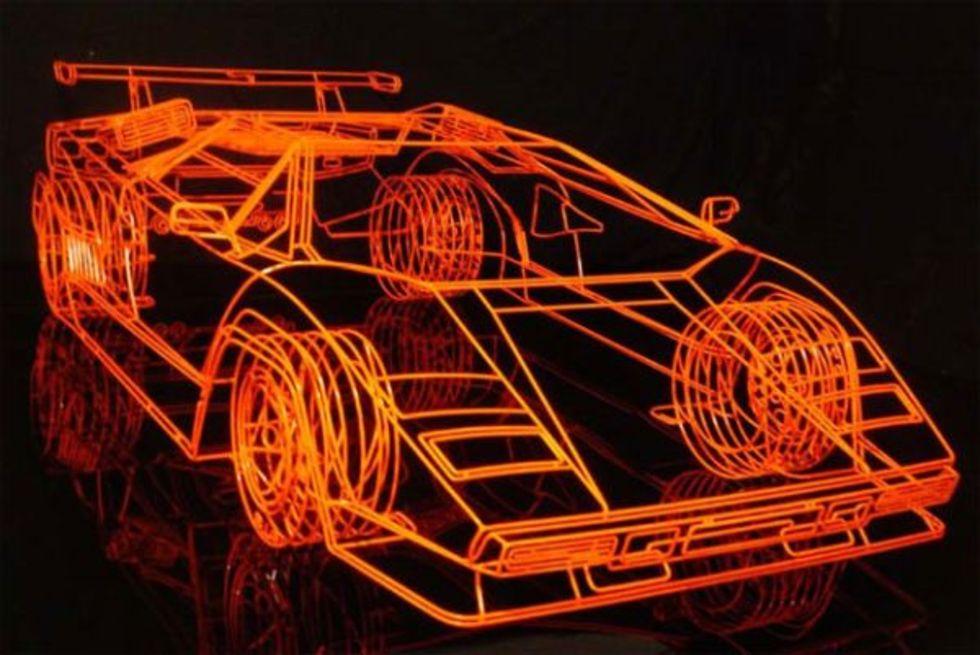 Lamborghini Countach tillverkad av stålstänger
