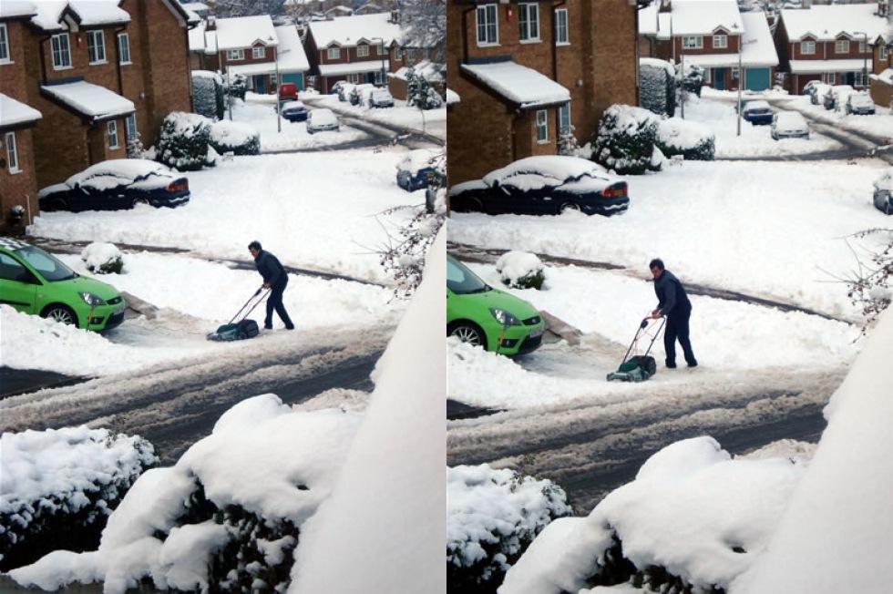 Skotta snö med gräsklippare?