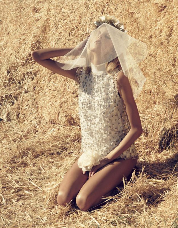 Vogue Nippon March 2010 | Anja Rubik by Camilla Åkrans  | Carolines mode :  bridal white short dress special occasions clothing