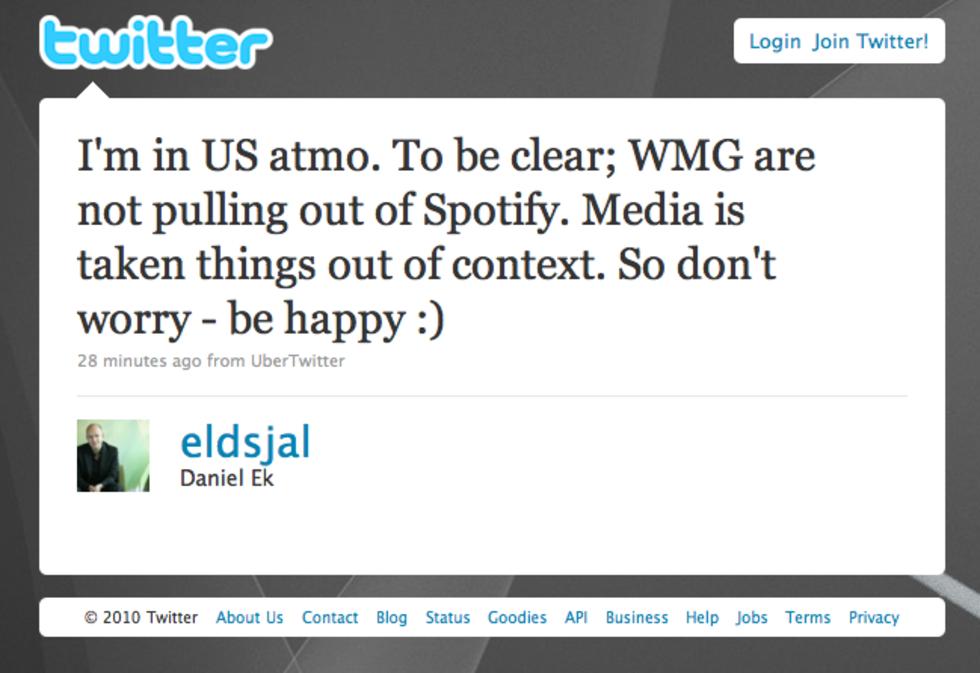 Warner försvinner inte från Spotify
