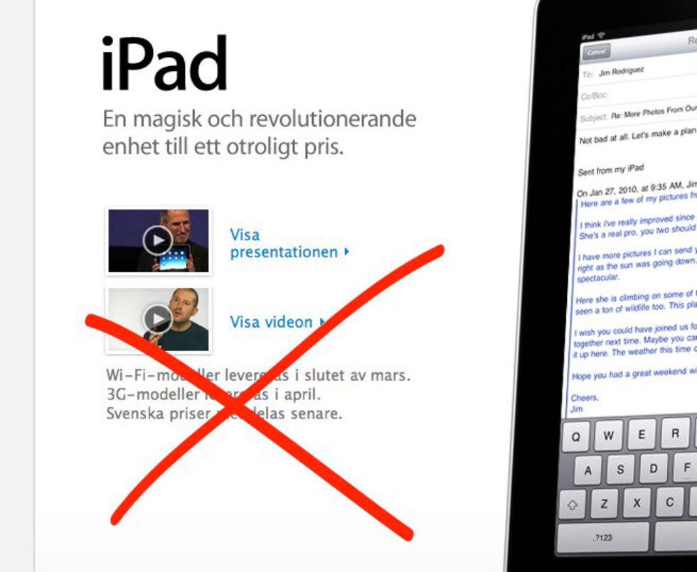 Sverige får vänta på iPad