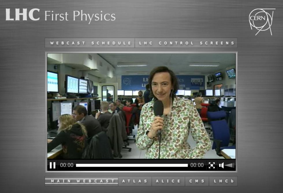 Livestream från LHC:s första proton-kollision
