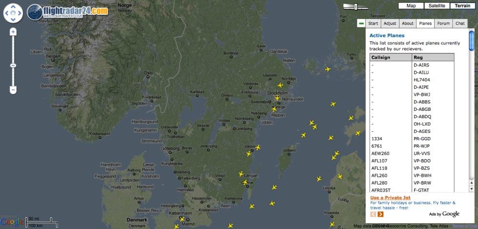 Flightradar24 håller koll på hur planen flyger