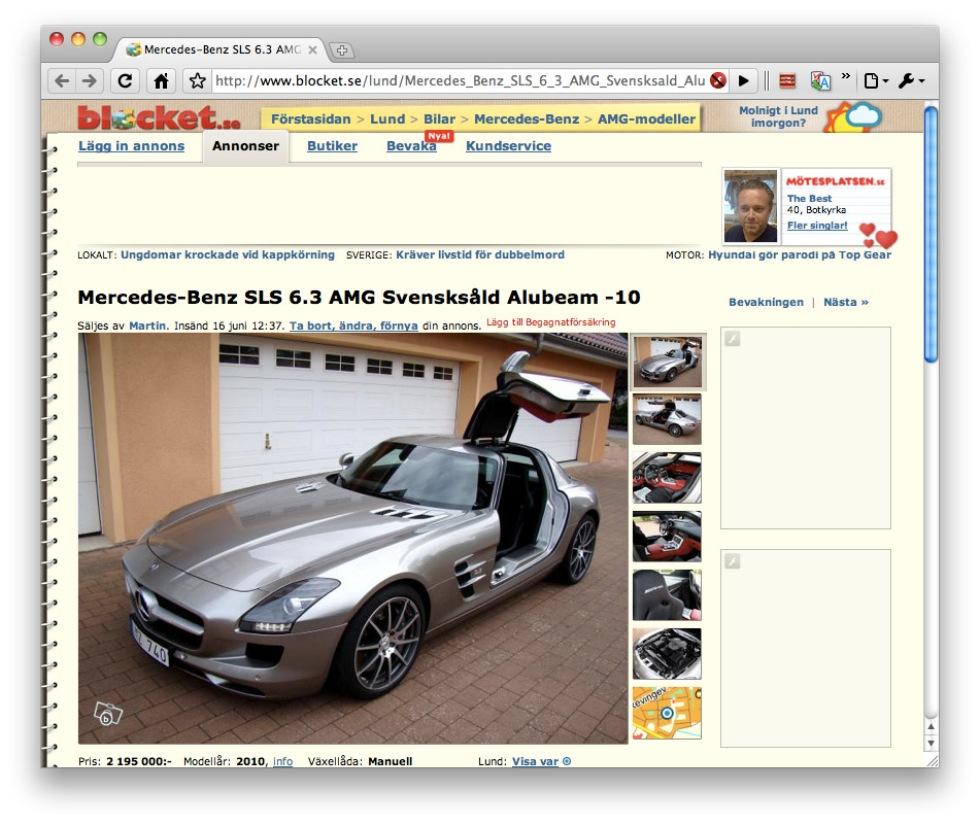 Mercedes-Benz SLS på Blocket