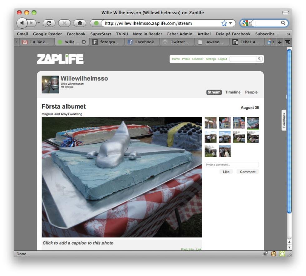 Lagra dina bilder på ZapLife