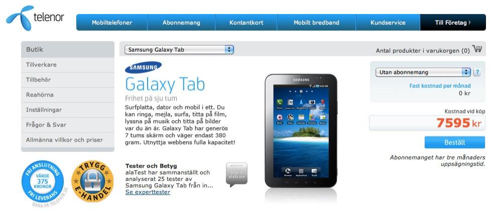 Första svenska priset för Samsung Galaxy Tab