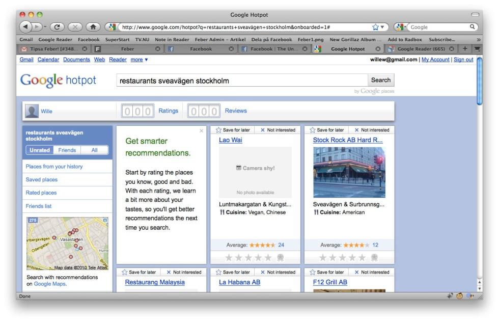 Google Hotpot - rekommendera det du gillar