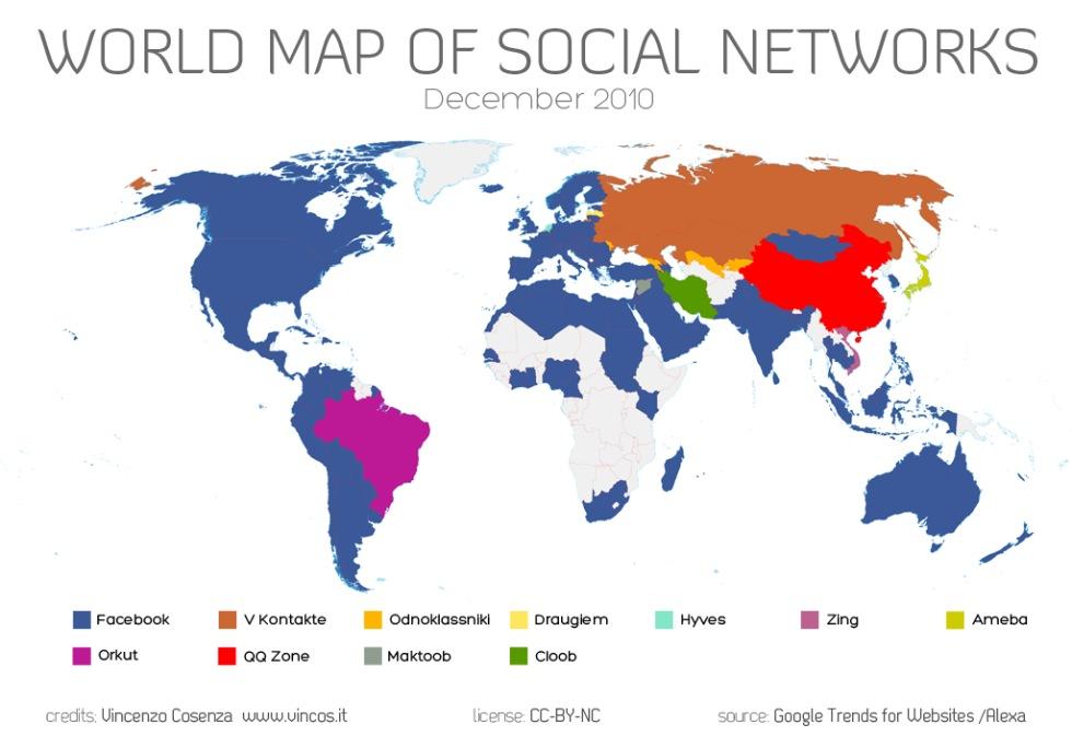Världskarta över sociala medier 2010