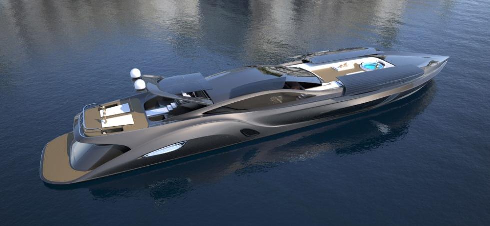 Båt med uppfällbar flybridge