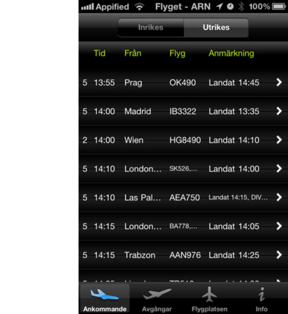 Arlanda-app till iPhone