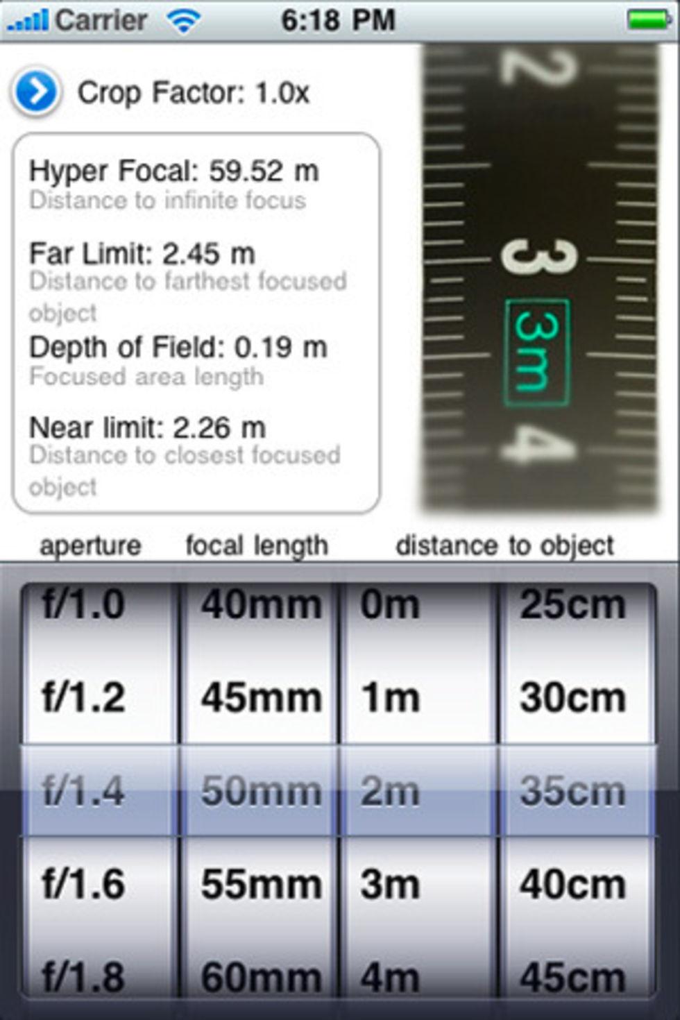 Skärpedjupsräknare till iPhone