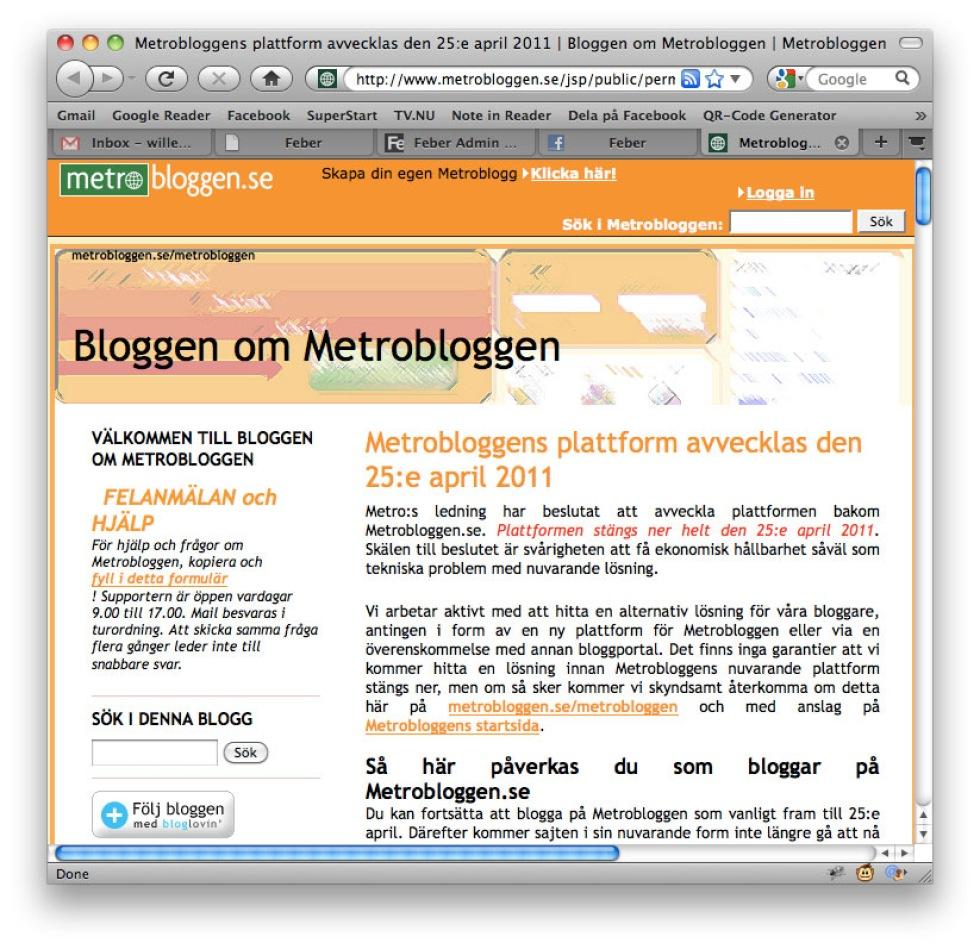 Metrobloggen lägger ner