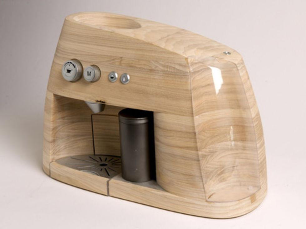 Espressomaskin i trä