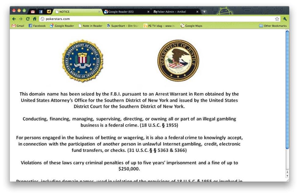 FBI stänger ner tre stora poker-sajter