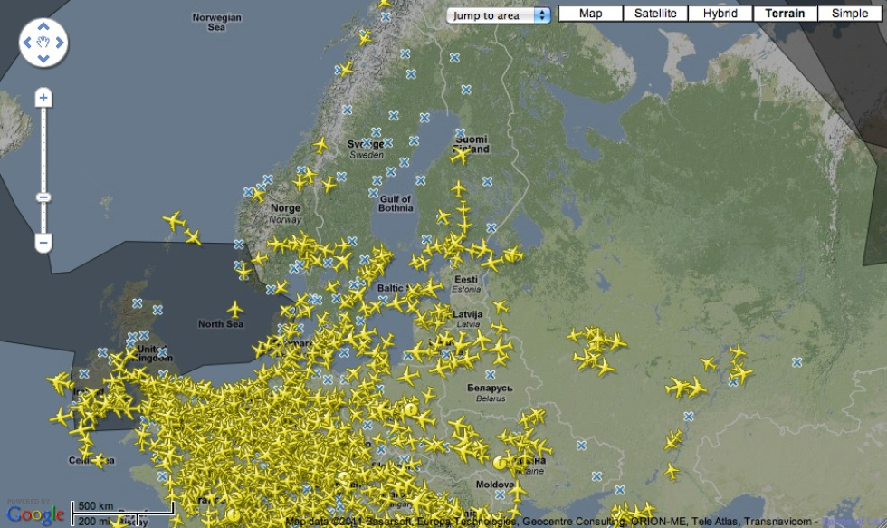 Håll koll på askmolnet med Flightradar24