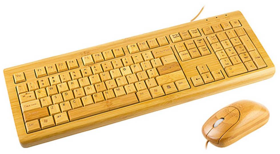 Mus och tangentbord helt i bambu. Kanske inget för spelnörden ... 6789b73976950