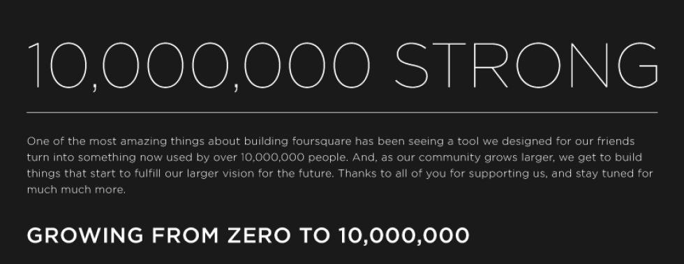 Foursquare når 10 miljoner användare