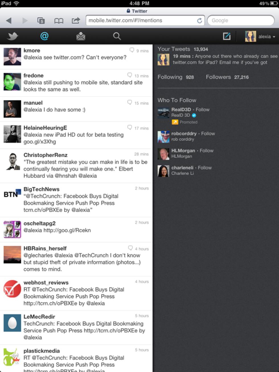 Webbversionen av Twitter för iPad uppdateras