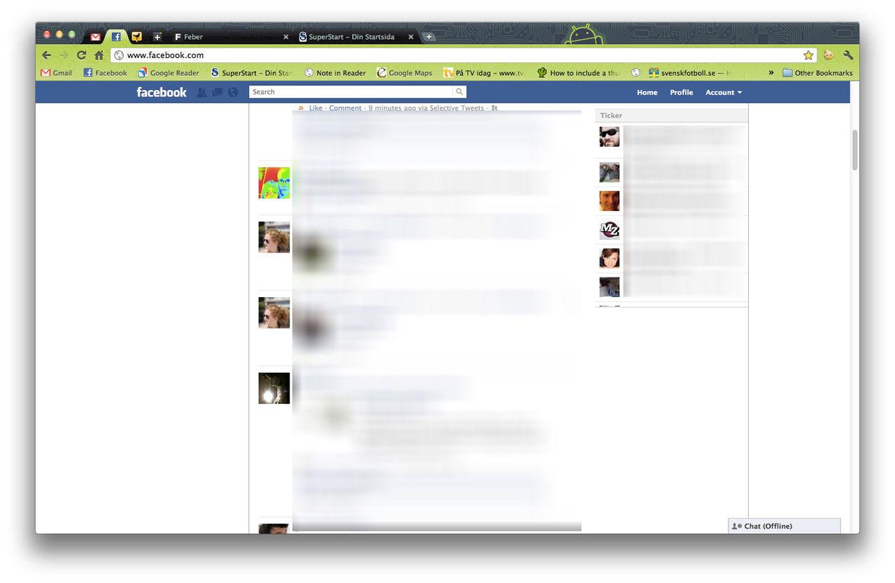 Facebook lanserar ticker