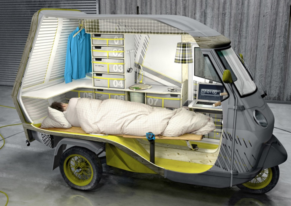 Piaggio APE 50 med camping-funktion