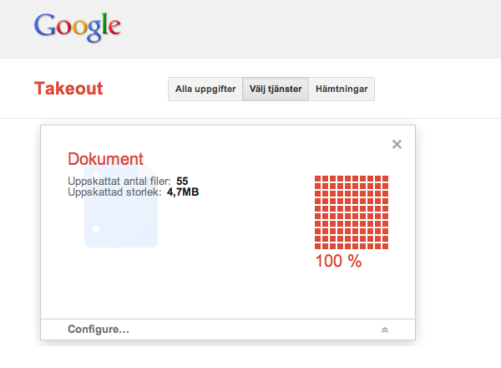 Backuppa dina Google Docs-dokument med Google Takeout