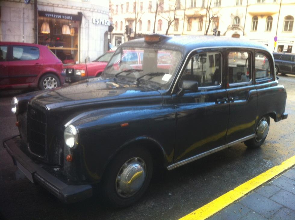 London-taxi mitt i Stockholm