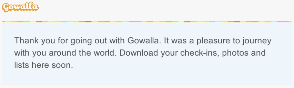 Gowalla säger tack och hej