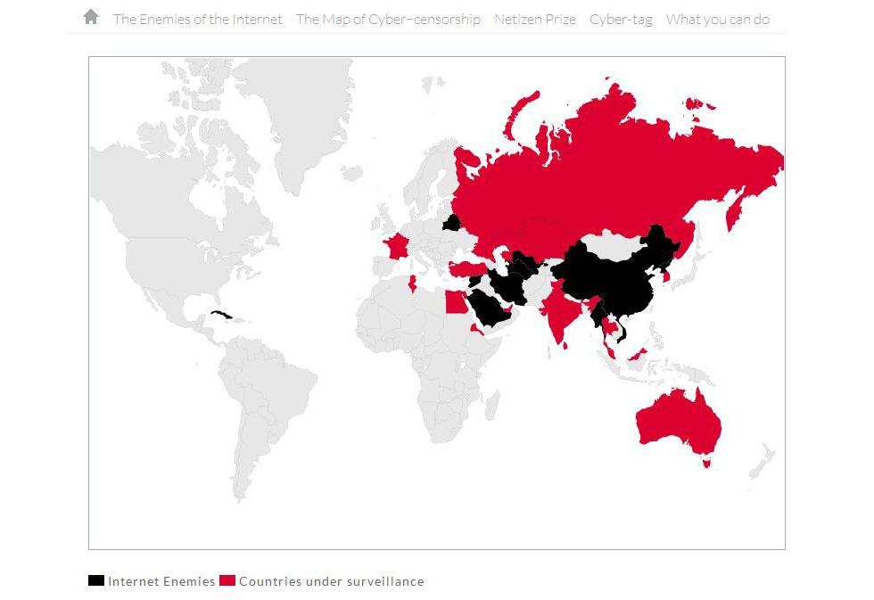 Vilka länder är Internets fiender?