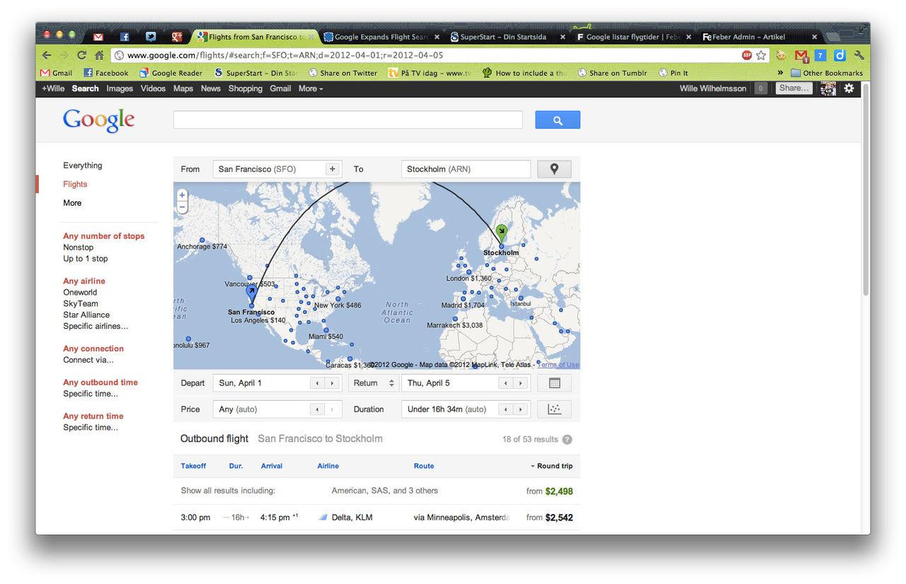 google flights blir lite mera internationell dock bara. Black Bedroom Furniture Sets. Home Design Ideas