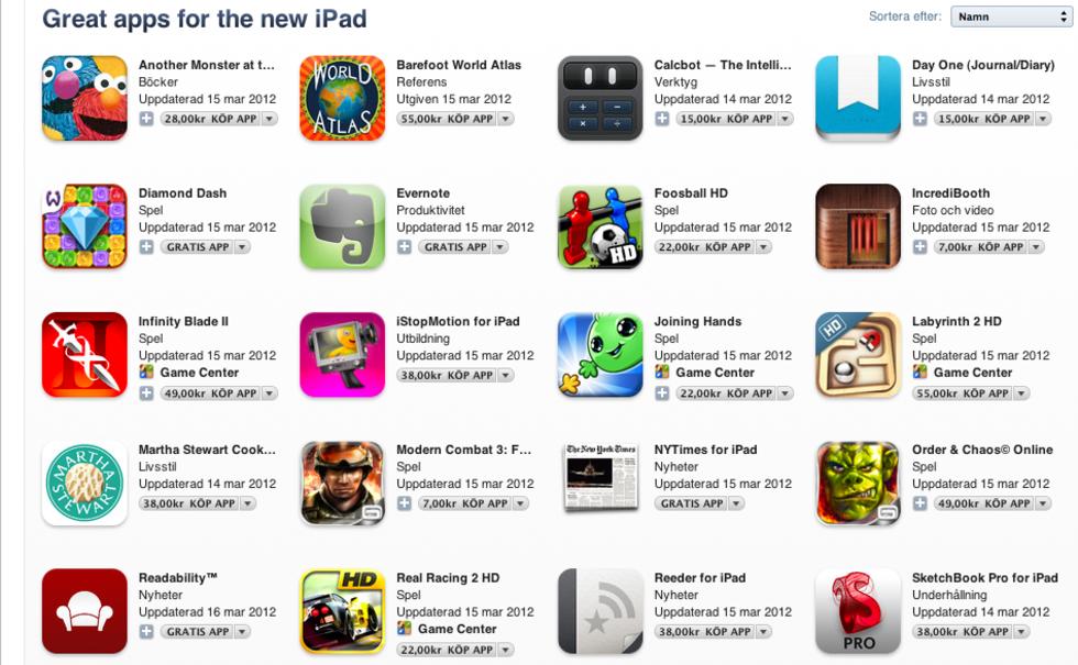 Egen avdelning i app store för nya iPad