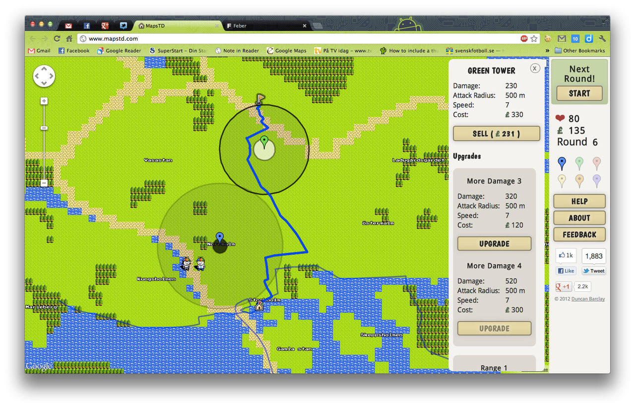 Spela Tower Defense på Google Maps