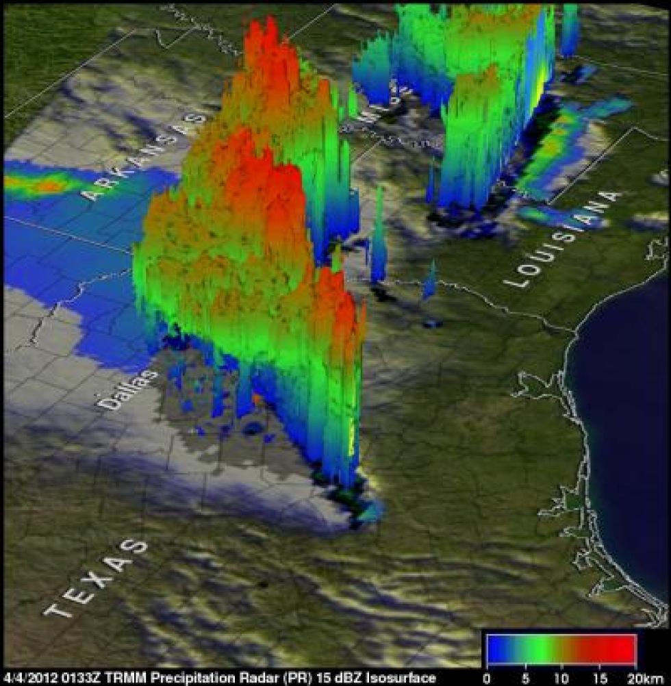 NASA gjorde en visualisering av veckans tornados