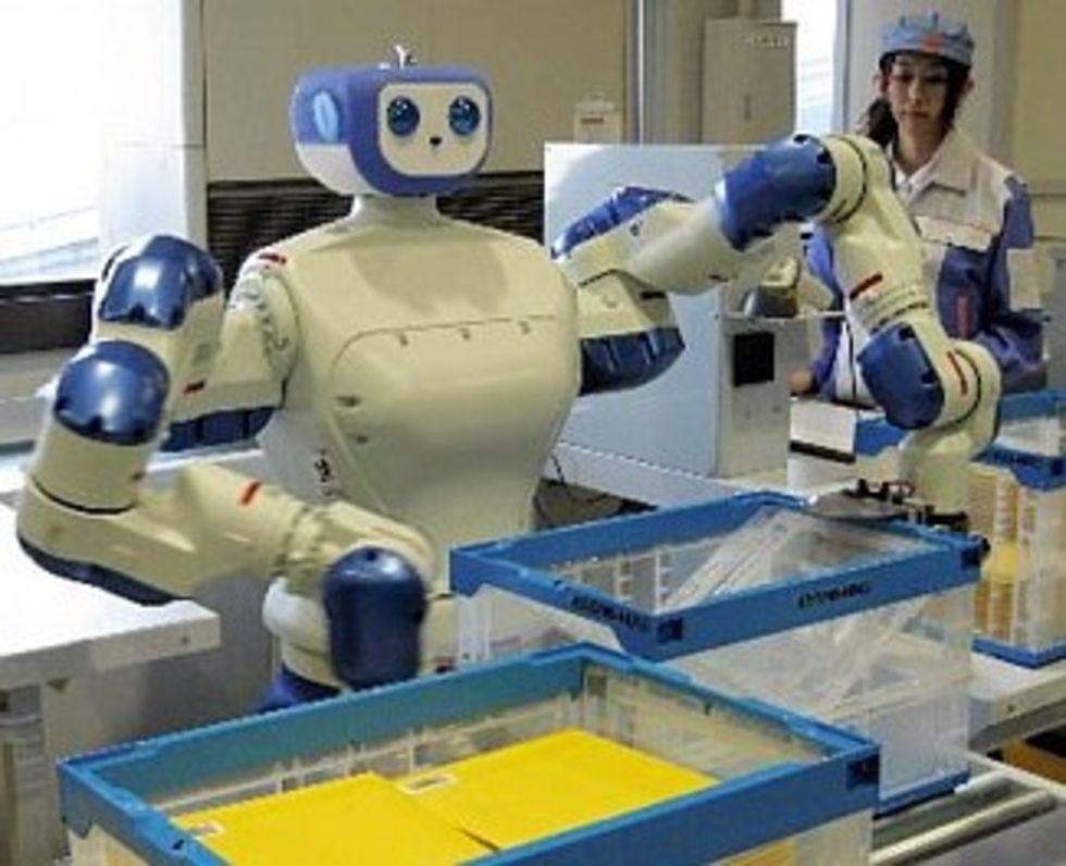 En industrirobot som ser ut som en humanoid