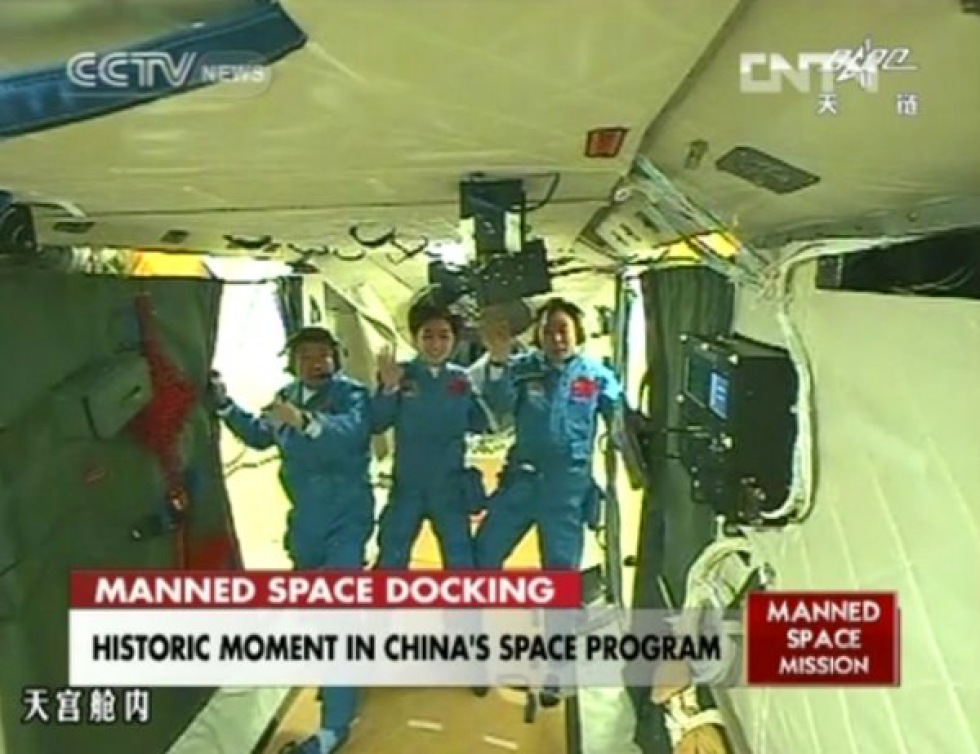 Kina har genomfört sin första bemannade dockning i rymden