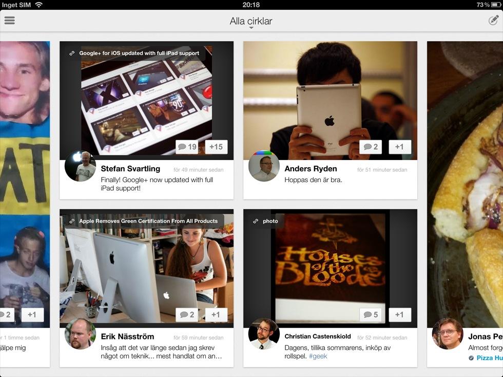 Google+ släppt till iPad