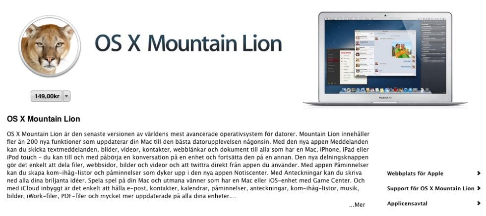 Mountain Lion finns nu i App Store