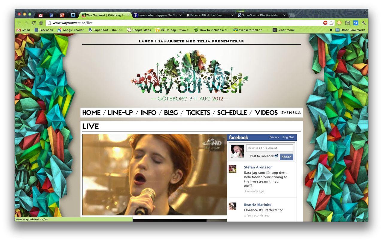 Way Out West livesänder konserter via nätet