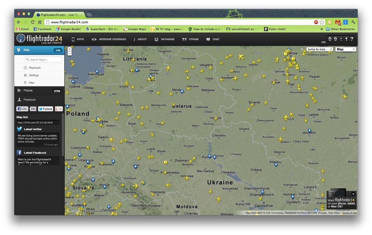 Flightradar24 nedstängda i Vitryssland