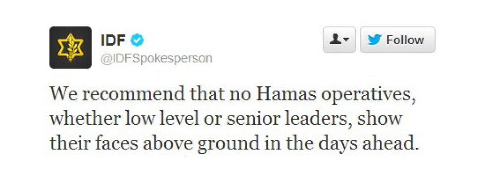 Israels militärs twitter-konto blev tillfälligt avstängt