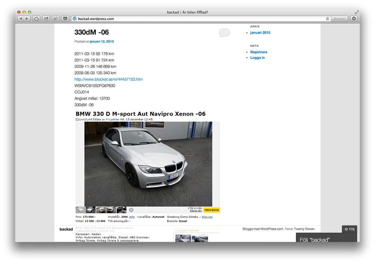 Site listar bilars äkta miltal