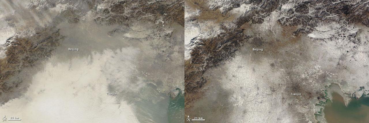 Pekings luftföroreningar syns nu från rymden