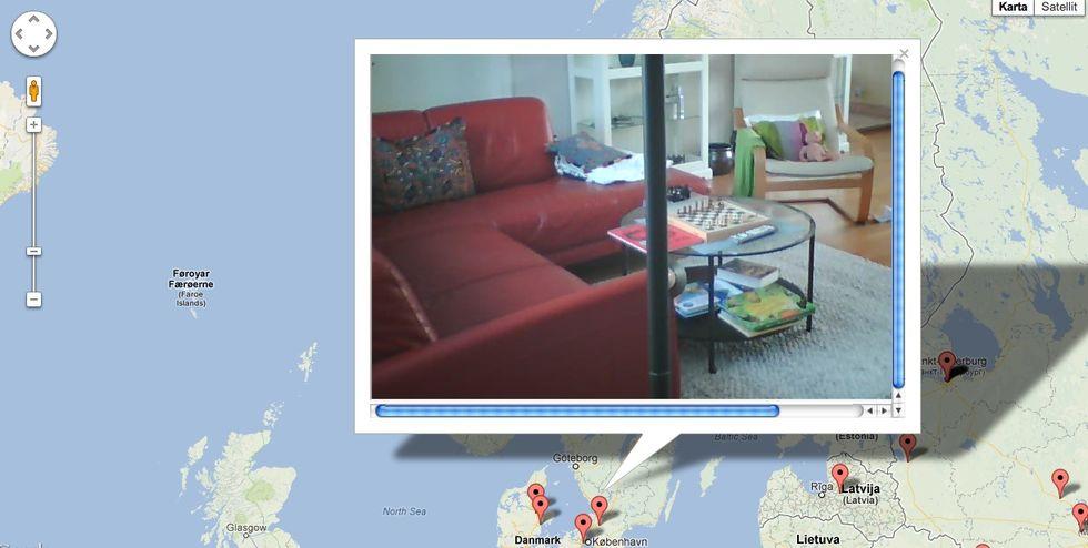 Karta med olåsta webbkameror