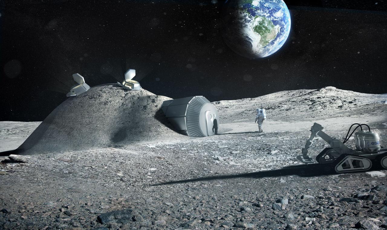 3D-printa hus på månen