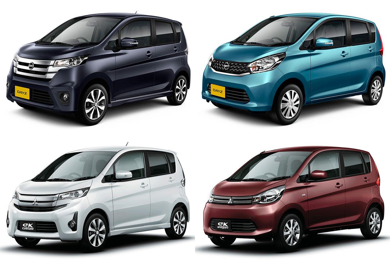 Fyra mikrobilar från Nissan och Mitsubishi