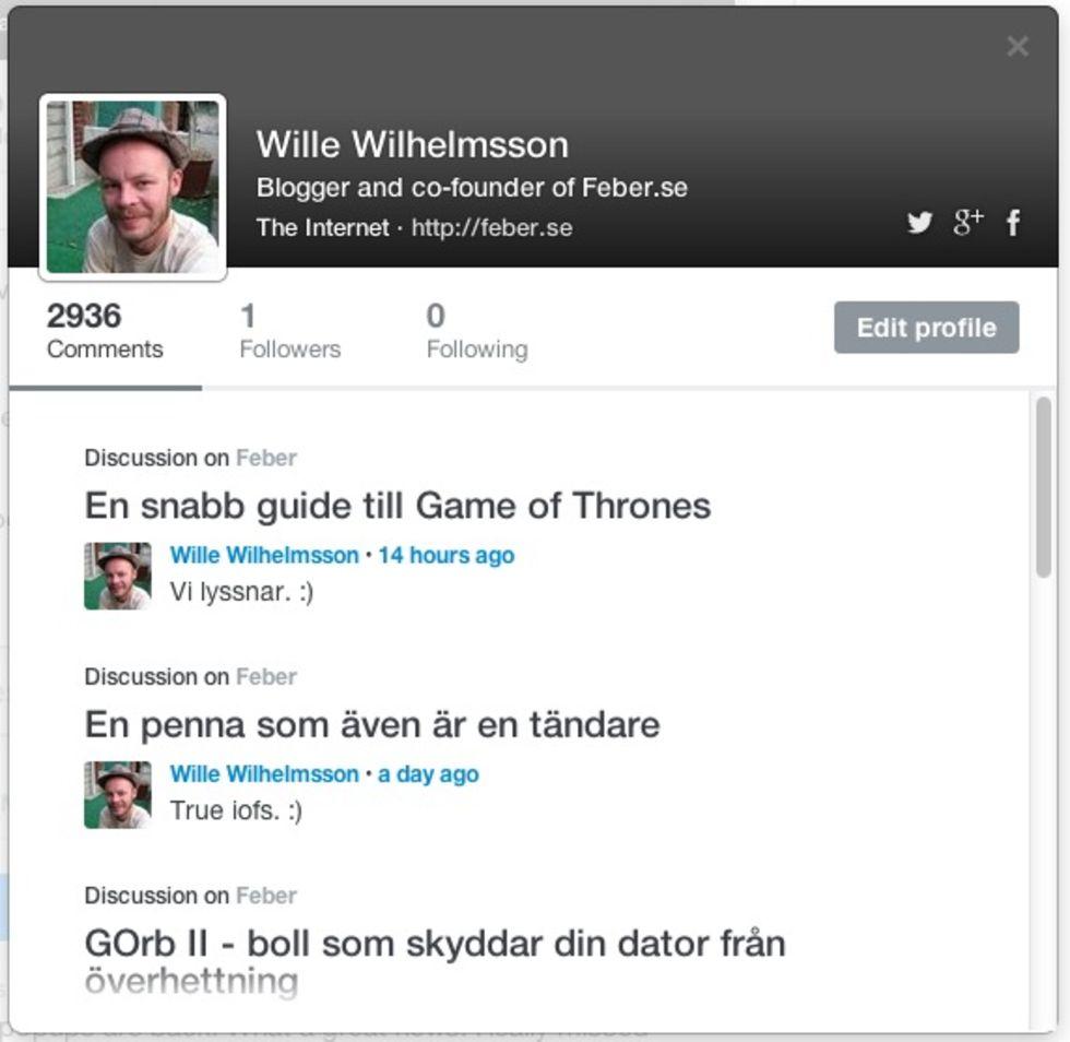 Nya profilsidor på Disqus