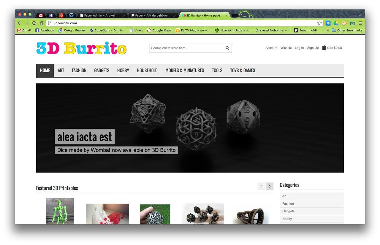 Köp ritningar till 3D-skrivare hos 3D Burrito