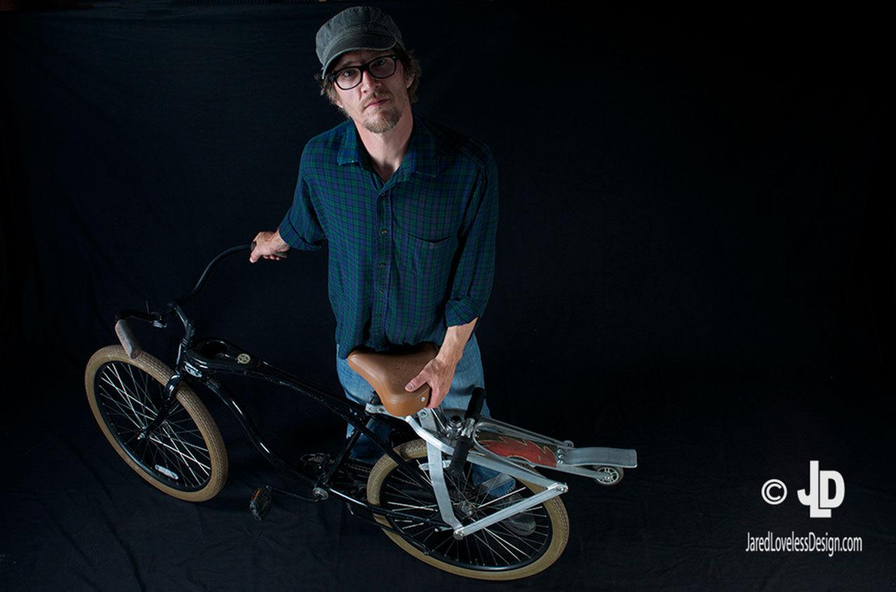 Cykel med sparkcykel