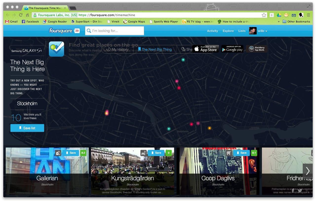 FourSquare Time Machine visar alla dina incheckningar