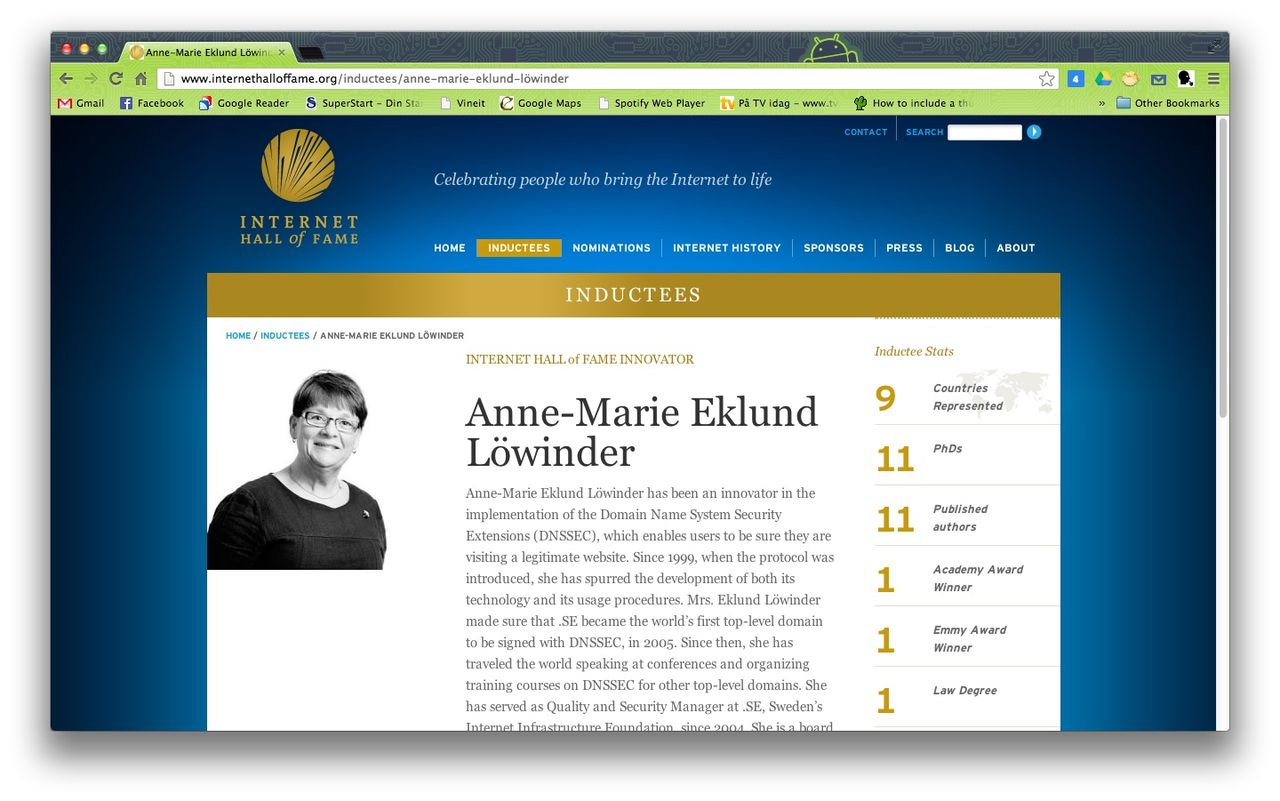 Första svensk invald i Internet Hall of Fame
